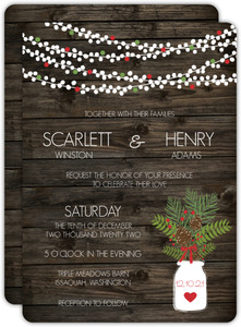 Christmas Mason Jar Christmas Wedding Invitation