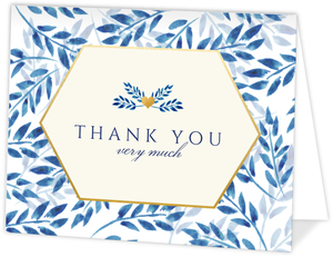 Elegant Blue Watercolor Foliage Bat Mitzvah Thank You Card