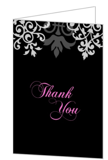Black And Gray Flourish Quinceanera Thank You Card Personalized