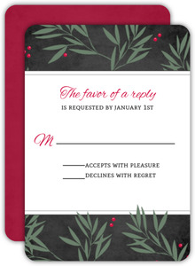 Chalkboard Branches Holiday Wedding Response Card