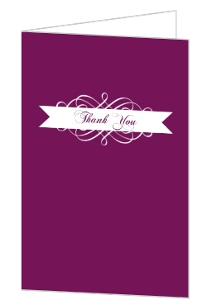 Purple And White Flourish Quinceanera Thank You Card