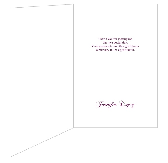 Purple And White Flourish Quinceanera Thank You Card Personalized