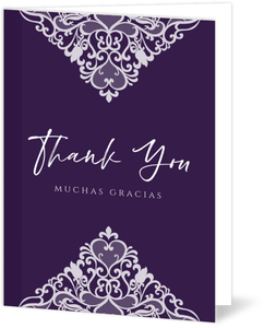 Triangle Lace Quinceanera Thank You Card