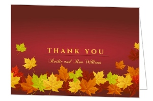 50Th Anniversary Fall Leaves Thank You Card