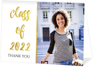 Glamorous Foil Graduation Thank You Card