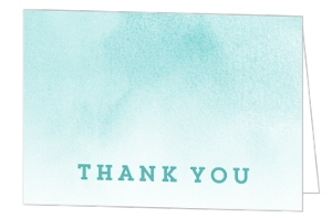 Aqua Watercolor Chevron Graduation Thank You