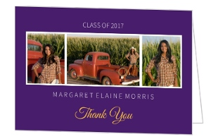 Purple & Gold Yellow Graduation Photo Thank You