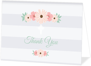Soft Stripes and Floral Christening Card