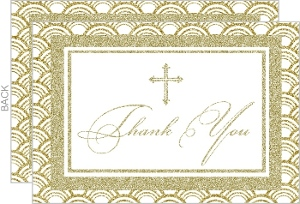 Beautiful Deco Sparkling Christening Thank You Card