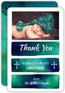 Blue and Teal Watercolor Christening Thank You Card