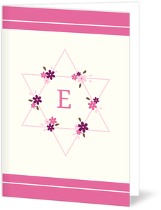 Pink Floral Star Bat Mitzvah Thank You Card