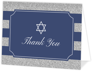 Formal Glitter Stripes Bar Mitzvah Thank You Card