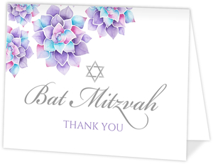 Lavender Watercolor Succulents Bat Mitzvah Thank You Card