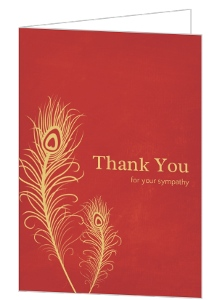 Beautiful Red And Gold Feather Sympathy Thank You