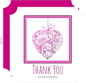 Pink And Purple Floral Heart Sympathy Thank You