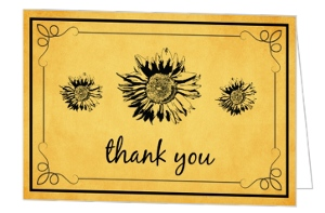 Yellow Painted Sunflower Thank You Card