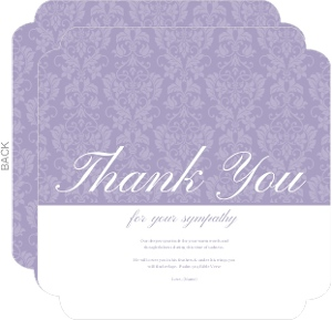 Lavender Damask Sympathy Thank You