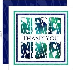 Watercolor Leaves Sympathy Thank You Card