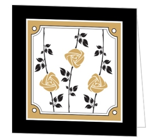 Gold And Black Rose Vine Sympathy Thank You