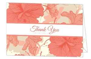 Hibiscus Coral And Tan Sympathy Thank You Card