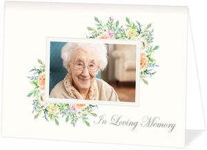 Corner Floral Frame Memorial Thank You Card
