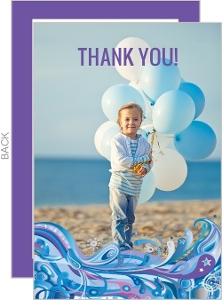Blue Swirly Swim Birthday Thank You Card