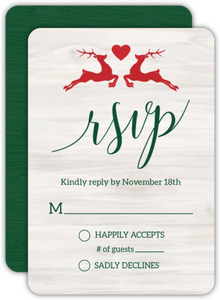 Rustic Reindeer Christmas Wedding Response Card