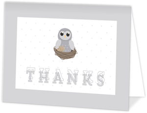 Grey Owl On Nest Thank You Card