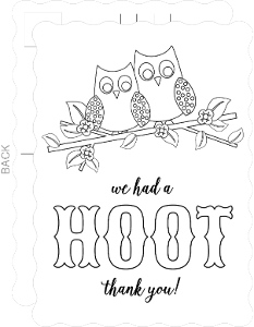 Owl Hoot Color In Thank You Card