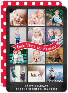 Monthly Snapshot Year in Review Holiday Photo Card