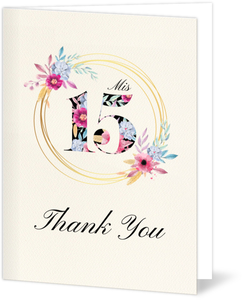 Bright Watercolor Floral Pattern Quinceanera Thank You Card