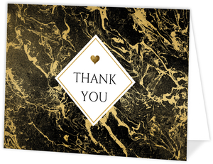 Faux Gold Foil & Black Marble Thank You Card