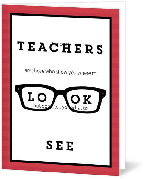 Teachers Show You Where To Look Thank You Card Thank You Cards For