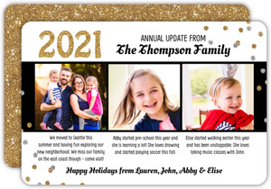 Gold and Silver Confetti Annual Update Holiday Photo Card