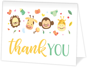 Cute Jungle Safari Thank You Card