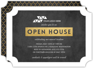 Faux Gold Ticket Business Open House Invitation