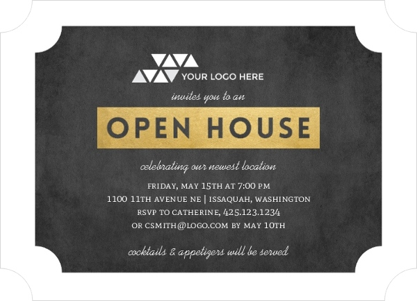 Faux Gold Ticket Business Open House Invitation Business Open