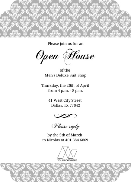 Gray Damask Party Invitation Corporate Open House Invitation