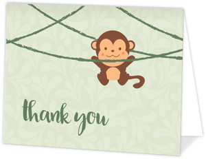 Let's Hang Out Monkey Thank You Card