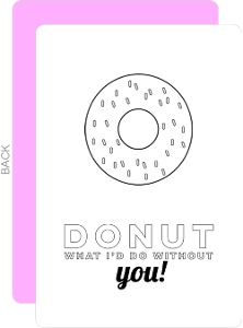 Sweet Donut Color In Thank You Card