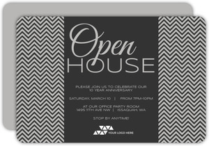 Chevron Shades Of Gray Corporate Open House Invitation