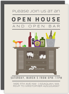 Open Bar Corporate Open House Invitation