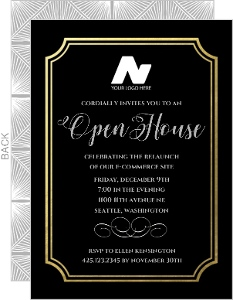 Formal Gold Foil Frame Business Open House Invitation