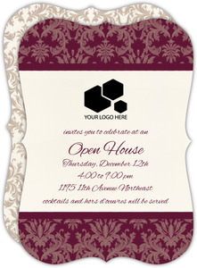 Burgundy Damask Business Open House Invitation