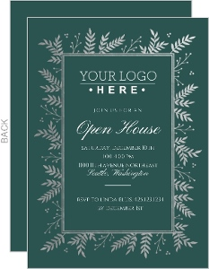 Silver Foil Foliage Frame Business Open House Invitation