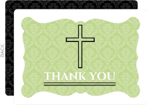 Green Elegant Baptism Thank You Card