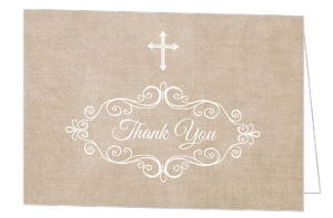 Vintage Frame Baptism Thank You Card
