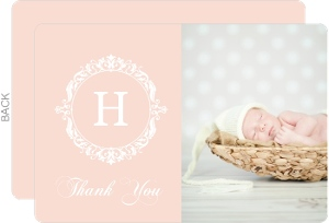 Pink Elegant Floral Monogram Thank You Card