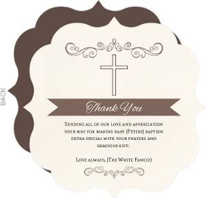 Formal And Elegant Baptism Thank You