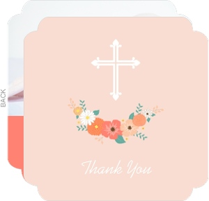 Peach Floral And Cross Baptism Thank You